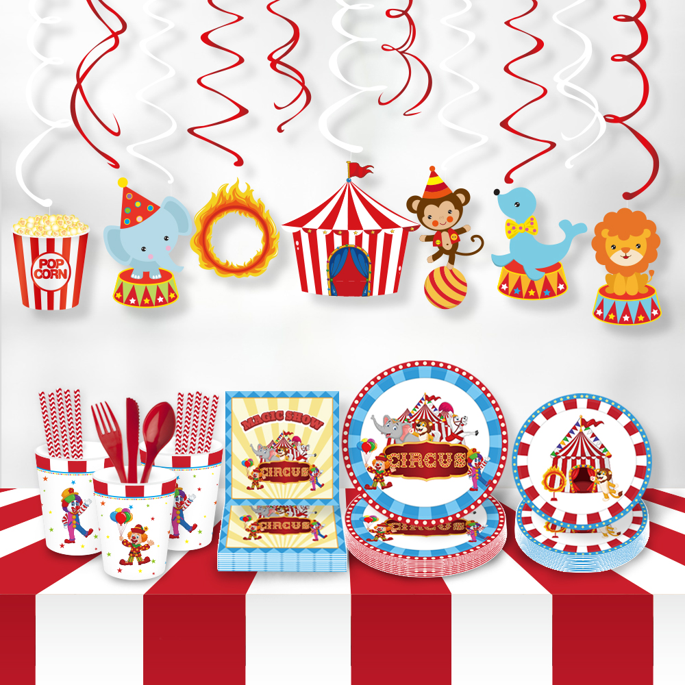 Carnival Circus Theme Party Favors Kids Birthday Disposable Tableware Sets Cartoon Animal Plates Party  Decorations Supplies