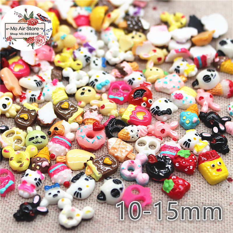 50PCS Mix Small Design Resin Flat Back Cabochon Imitation Food/cartoon Art Supply Decoration Charm Craft