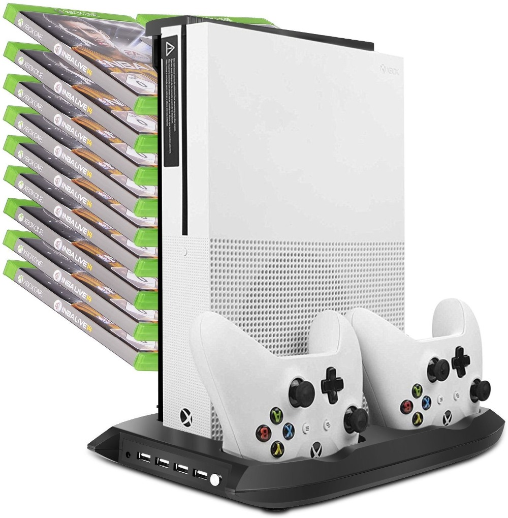Vertical Stand Cooling Fan Cooler for Xbox One S /Slim with Controller Charging Dock Charger Station Game Storage Tower dual charger vertical controller dock station charging bracket stand cooling cooler fan 2 usb power hub for playstation4 ps4