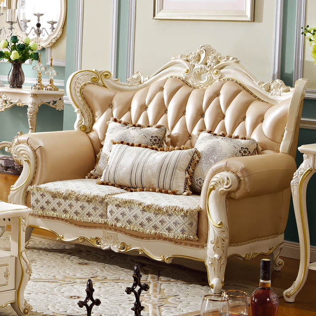 Hot sale high quality leather fabric sofa set royal furnitures living room  sofa set for sale - 923