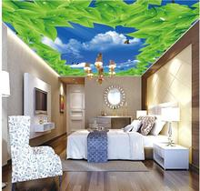 wallpaper 3d ceiling White clouds green leaf zenith murals sky ceiling wallpaper 3d ceiling murals wallpaper