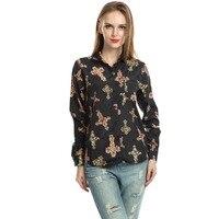 2017 Autumn Winter Women Long Shirts Loose Large Size Personality Printing Shirt Lady Lapel Chiffon Fashion