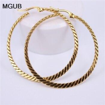 MGUB Edelstahl Frauen Hoop Ohrringe Mädchen Mode Ohrringe Gold Farbe Runde Einfache 2018 Heißer Verkauf durchmesser 40mm-60mm LH569