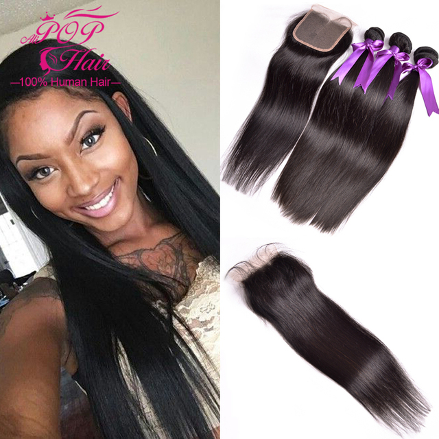 7A Straight Brazilian Virgin Hair With Closure,100% Human Hair With Closure,Straight Hair With Closure,3 Bundles With Closure