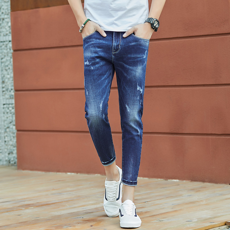 2018 New Fashion Softener Water Wash Scratched Blue Jeans Ankle-Length Male Slim Fit Denim Pencil Pants Size 27-36 #907