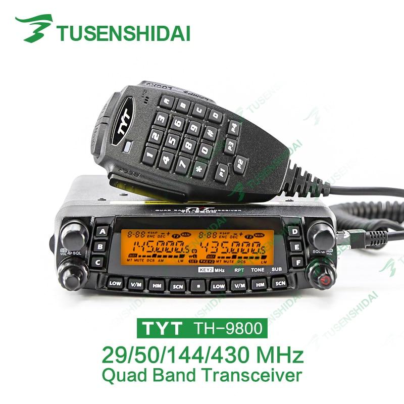 TYT Quad Band Transceiver 10M / 6M / 2M / 70cm VHF / UHF TH-9800 Tvåvägs- och amatörradio med programmeringskabel och programvara