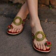 โบฮีเมียวันหยุดรองเท้าฤดูร้อนรองเท้าผู้หญิงดอกไม้ที่ทำด้วยมือของรองเท้าผู้หญิงรองเท้าเวดจ์cutout cowhideในพร้อมด้วยรองเท้าแตะMujer