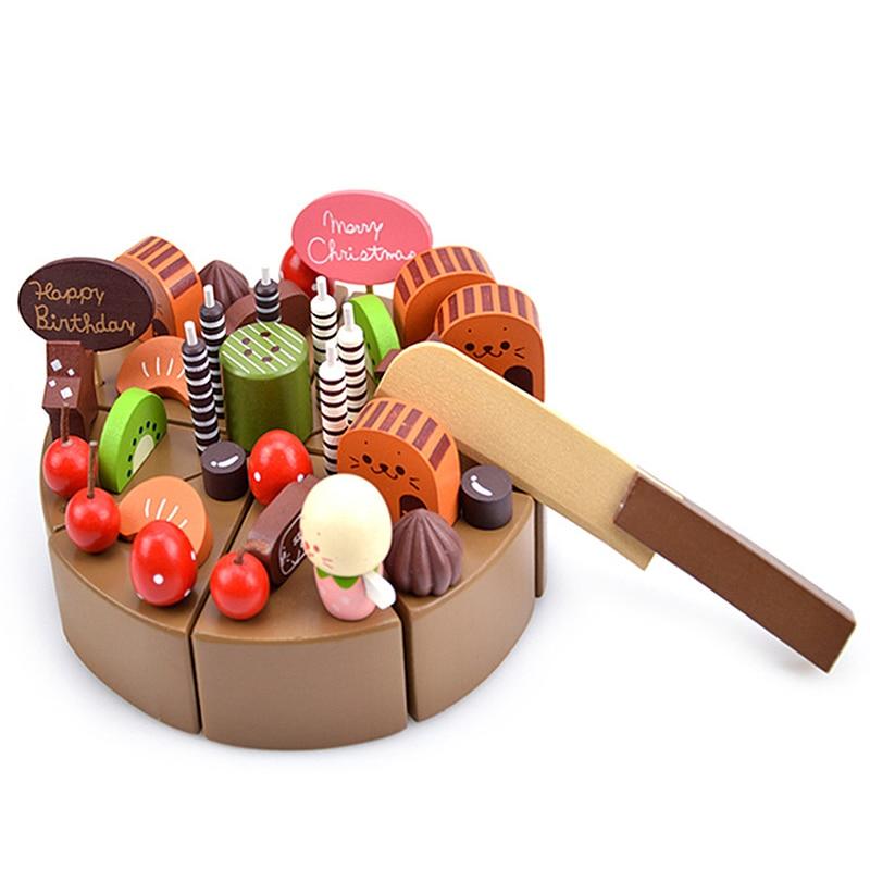 Gâteau au chocolat Bébé Jouets Enfants D'anniversaire Crème Gâteau En Bois Jouets Cuisine Précoce Éducatifs Jouer Jeux D'anniversaire Cadeau