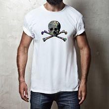 MENS FIT GRAFFITI SKULL AND CROSSBONES PIRATE STICKER BOMB T-SHIRT TEE TOP New T Shirts Funny Tops Tee Unisex