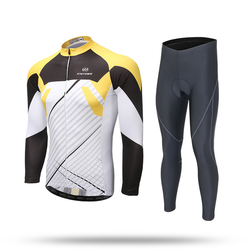 XINTOWN Pro Long Sleeve Cycling Jersey Sets Breathable 3D Padded Sportswear Mountain Bicycle Bike Men Women Cycling Clothing Set xintown men s cycling long jersey top padded pants set black purple multi color m
