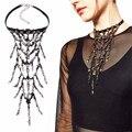 ZA Big Long Layered Tassel Pendant Necklace Choker Statement Crystal Beads Collier Femme Boho Black Velvet Choker Women YN1553