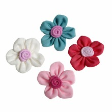 200pcs/lot 1.6 4Colors Plum Blossom  DIY Cotton Hair Accessory Flat Back Flowers Kidocheese