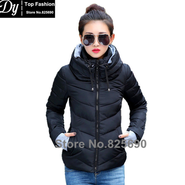 New Wadded Winter Jacket Women Cotton Short Jacket Fashion 2017 Girls Padded Slim Plus Size Hooded Parkas Stand Collar Coat