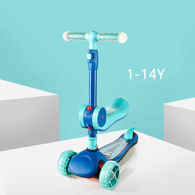 Kesehatan Bayi Olahraga untuk 1-14Y Anak-anak Skuter 3 In 1 Baby Walker Roda Tiga Dilepas Kursi Orang Dewasa Anak Kick scooter Lipat