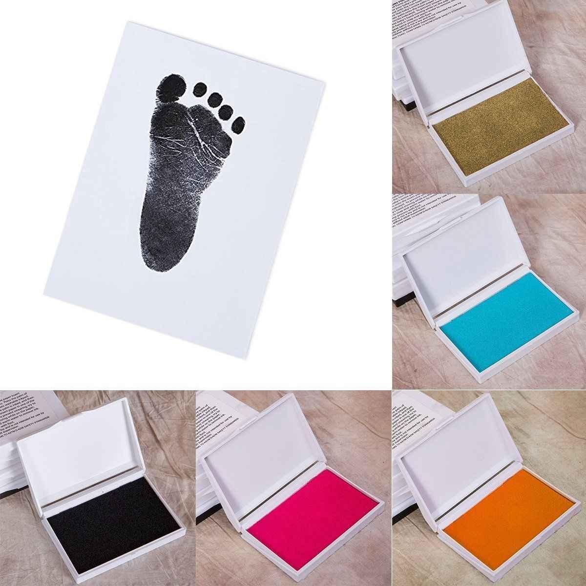 เด็กปลอดภัยพิมพ์หมึก Pad Hand Footprint ผู้ผลิตรอยเท้า Handprint Kit Keepsake Maker ความทรงจำ DIY