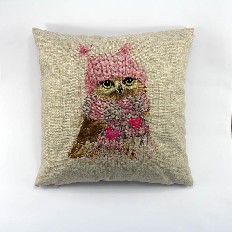 owl  Printed polyester linen pillow case Creative Decorative Chirsmas Theme Pillow Case  For Home