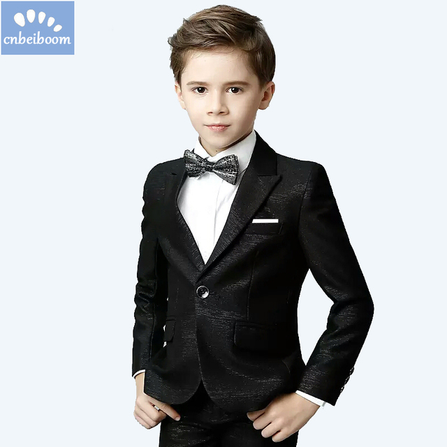 689c6db7df3 Baby boys kids blazers clothing suit for weddings prom formal black Groom Show Performance Birthday  dress boy suits 5pcs clothes