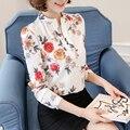 Старинные Женщины Печати Блузки 2017 Весна Blusas Шифон V Шеи с длинным Рукавом Плюс Размер Рубашки Блузка Женщины OL Топы Рубашки женский
