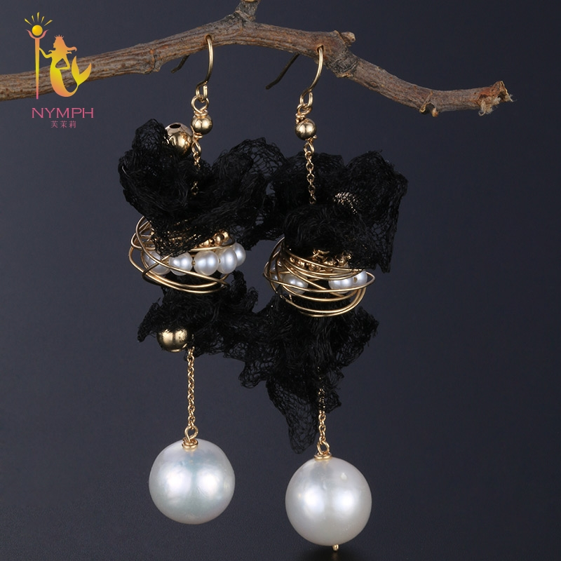 [NYMPH] Freshwater Pearl Earrings For Women Fine Jewelry Big Natural Pearl Dangle Earrings Trendy Gift E317 theatre of incest