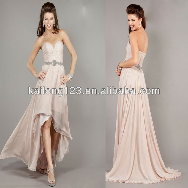 Us 140 0 Glitter Sweetheart High Low Blush Knot On Top Bodice Beaded Waist Chiffon Short Davanti Long Dresses Behind In Prom Dresses From Weddings