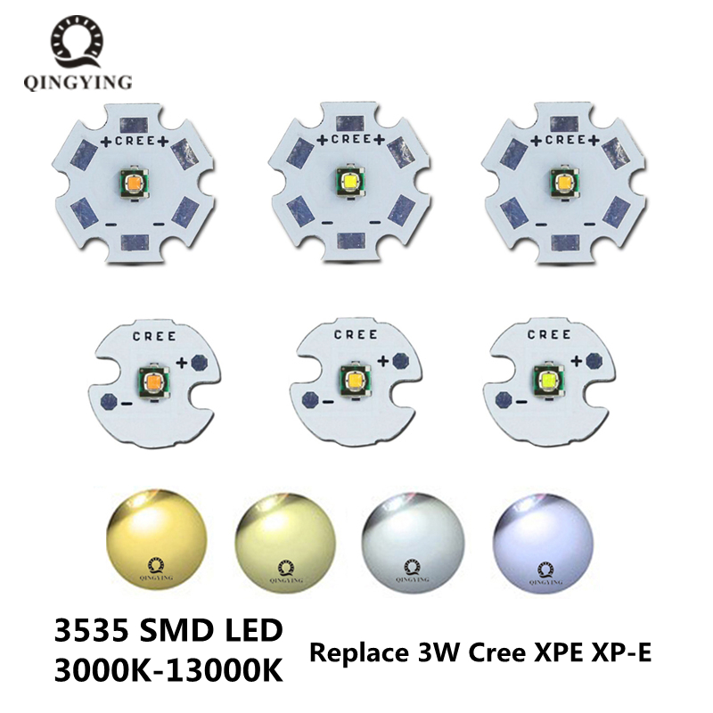 1pcs XPE XP-E Cree LED R3 3535 SMD 3W Cold White Warm White LED With 20mm 16mm PCB For Flashlight LED Bulbs Lighting DIY