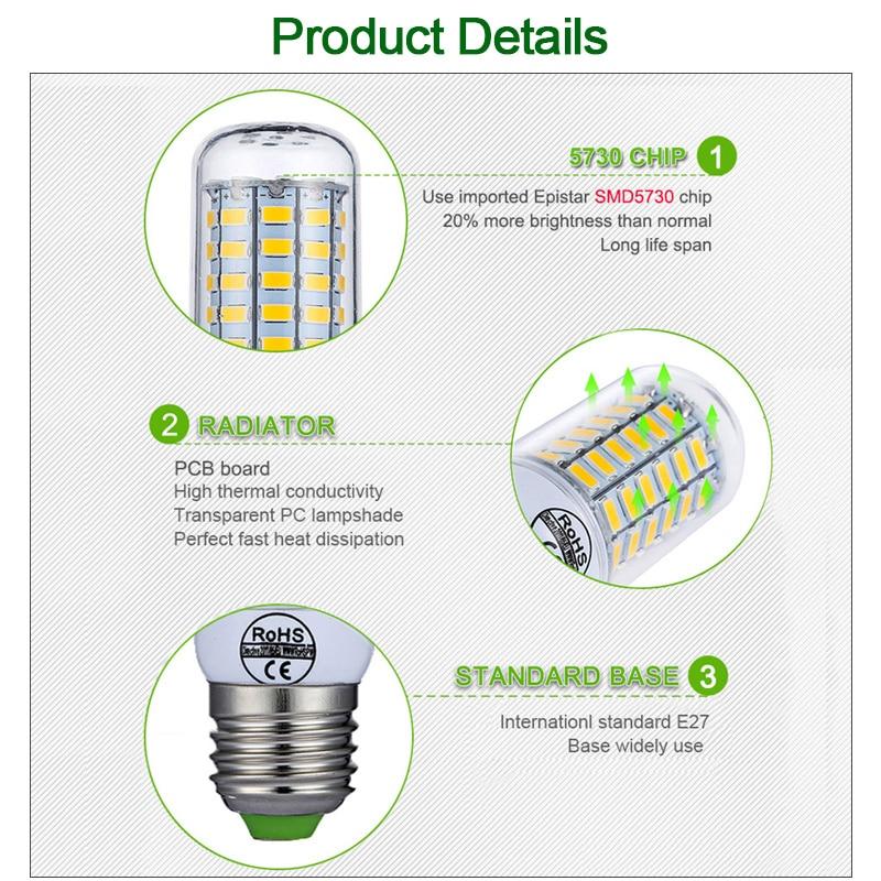 E27 LED Lamp E14 LED Bulb SMD5730 220V Corn Bulb 24 36 48 56 69 72LEDs Chandelier Candle LED Light For Home Decoration 4