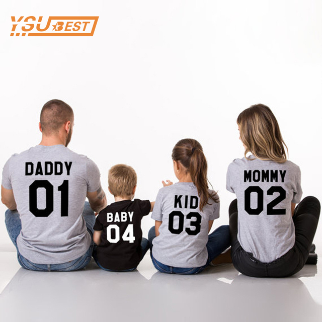 08dd90898 2018 Family Matching Clothes DADDY 01 MOMMY 02 KID 03 BABY 04 Family  Matching Outfits Mother Father Baby Fashion Letter T-Shirts