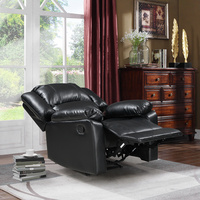Single Recliner Chair Padded Seat PU Leather Living Room Sofa Recliner Modern Recliner Seat Club Chair Home Theater Seating