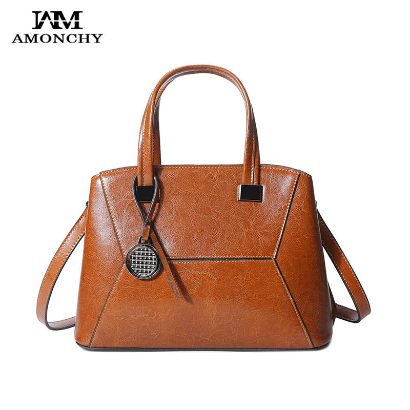 AMONCHY Brand Ladies Genuine Leather Handbags Cowhide Women Shoulder Bags Vintage Casual Tote Bag Original Design Messenger Bags 2017 new female genuine leather handbags first layer of cowhide fashion simple women shoulder messenger bags bucket bags