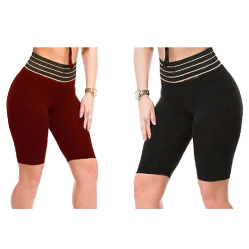 Women High Waist Striped Tummy Control Skinny Sport Shorts Lady 2019 Solid Color Ruched Butt Lift Biker Shorts Fitness