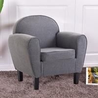 Goplus Arm Chair Modern Single Sofa Leisure Accent Fabric Upholstered Wood Leg Sponge Sofa Gray Living