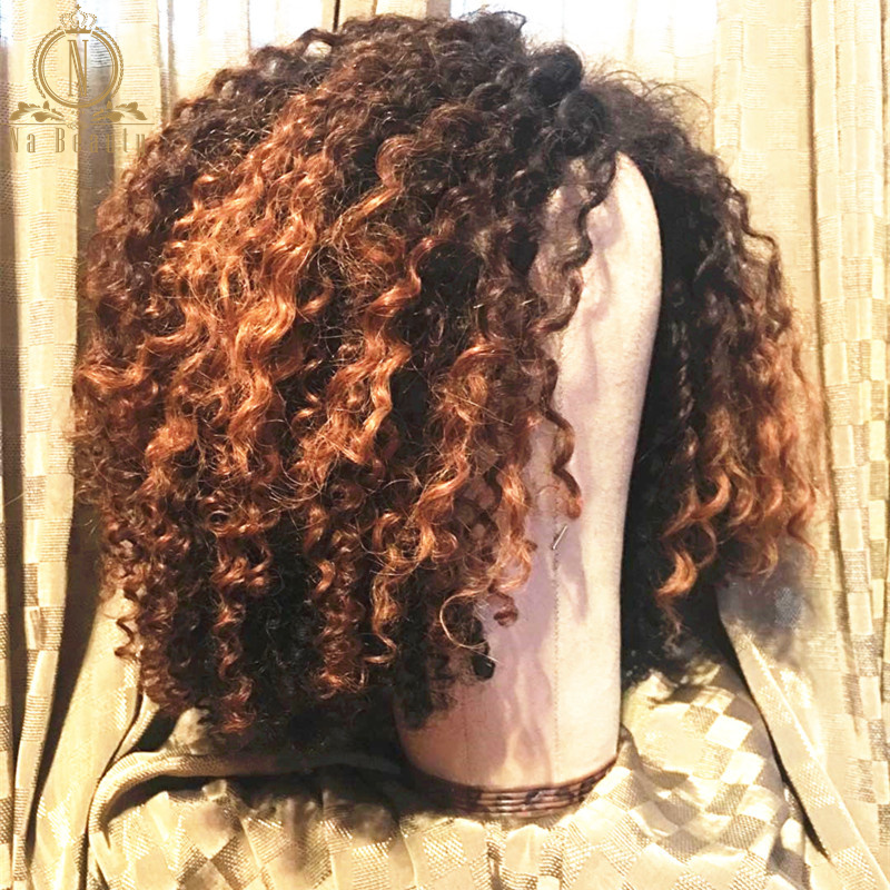 Afro Kinky Curly Ombre Colored Human Hair Wigs For Women Short Bob 13x6 Lace Front Wig Black Pre Plucked Remy Hair Nabeauty 150 - 3