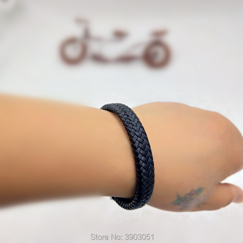 KHSP hot style European and American men's bracelet woven leather bracelet earrings accessories magnetic clasp bracelet rock