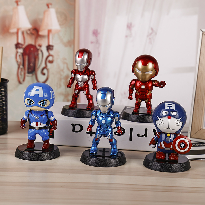 Cute Solar Powered Dancing Figures Marvel Batman Treeman One Piece Swinging Bobble Dancer Solar Toys Ironman Car Decoration Gift