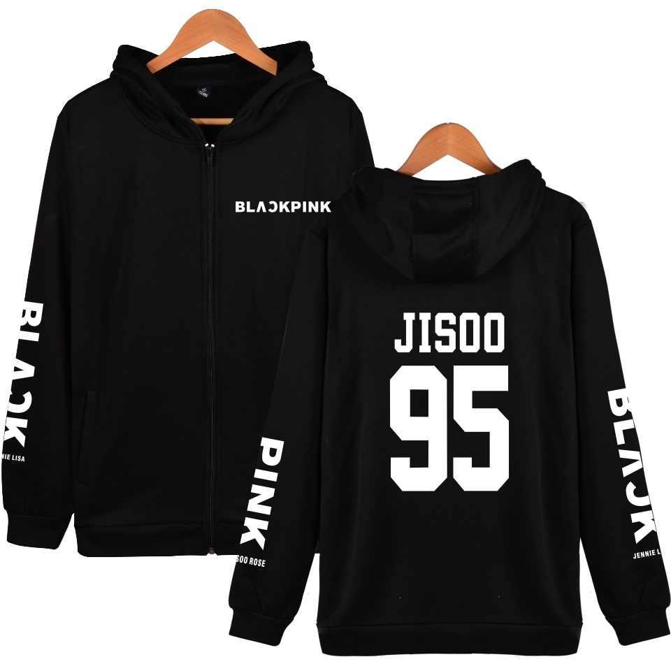 KELUOXIN Kpop Zipper Hoodies Women/Men Blackpink Fans Supportive Hoodie Fleece Sweatshirt Casual Member Name Print Tracksuit