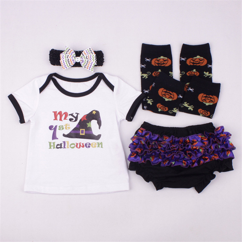 4PCS/New Wizard My 1st Halloween Letter Clothing Set Baby Girl Children Kids T-shirt+Bloomers Toddler Boy summer Outfits Clothes