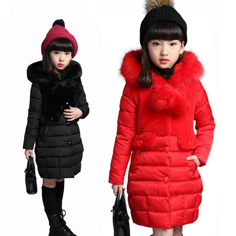 Girls Fur Hooded Winter Coat Children Fashion Padded Cotton Jacket 10 12 9 Year Girl Long Warm Jacket Kids Thick Wadded Outwear 2015 new mori girl wave raglan hooded loose sleeve medium long wadded jacket female
