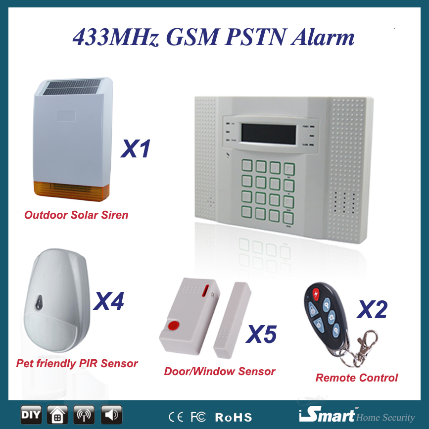 luxury gsm alarm package diy home alarm security system with pet sensor and wireless outdoor. Black Bedroom Furniture Sets. Home Design Ideas