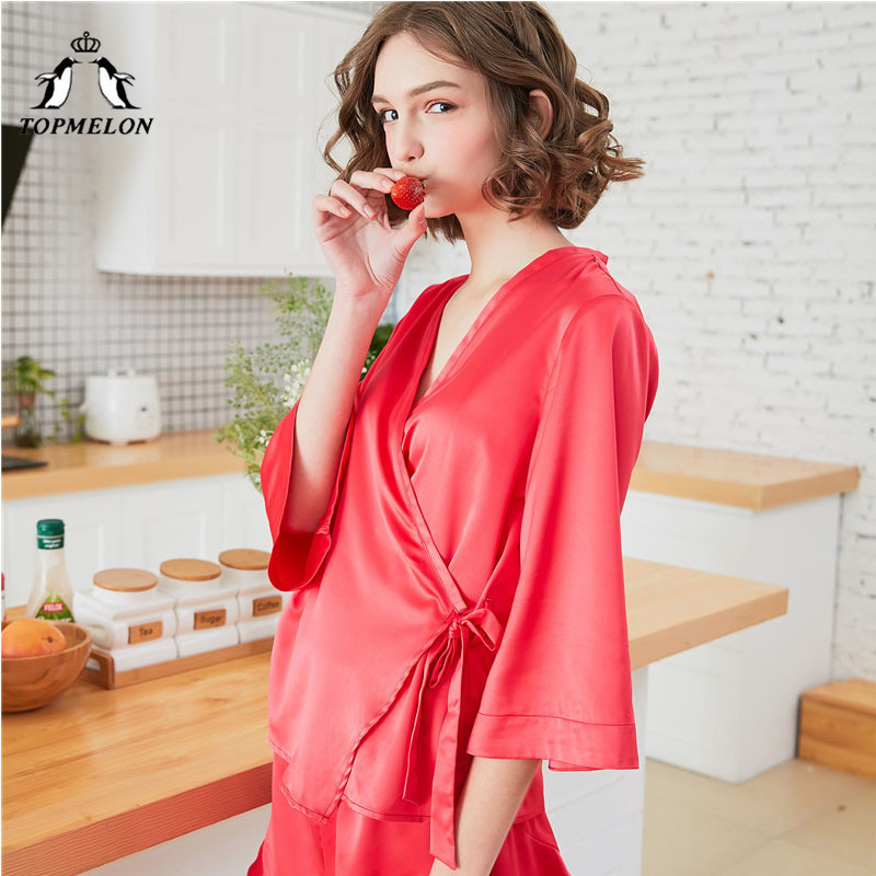 e92ac45e56 TOPMELON Satin Pajama Red V Neck Sleepwear Two Piece Pajamas for Women  Silky Long Sleeve Tops   Shorts Pajama Set Home Clothes-in Pajama Sets from  Underwear ...