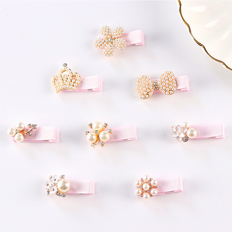 New Baby Girls Barrettes Cute Crown Flower Pearls Alloy Hair Clips Kids Safety Hairpins Children Gifts Princess Hair Accessories 10pcs lot 2017 new cute girls hair clips hairpins 3 roses flower non woven fabrics hairpin baby kids hair accessories