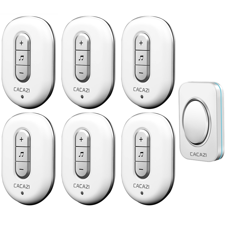 CACAZI high quality Smart DoorBell 1 transmitter+6 receivers Waterproof AC 110-220V 280m remote Wireless Door bell 48 Ringtones 2 transmitter 2 receivers ac remote electronic doorbell wireless doorbell waterproof home doorbell pager 110 220v door bell