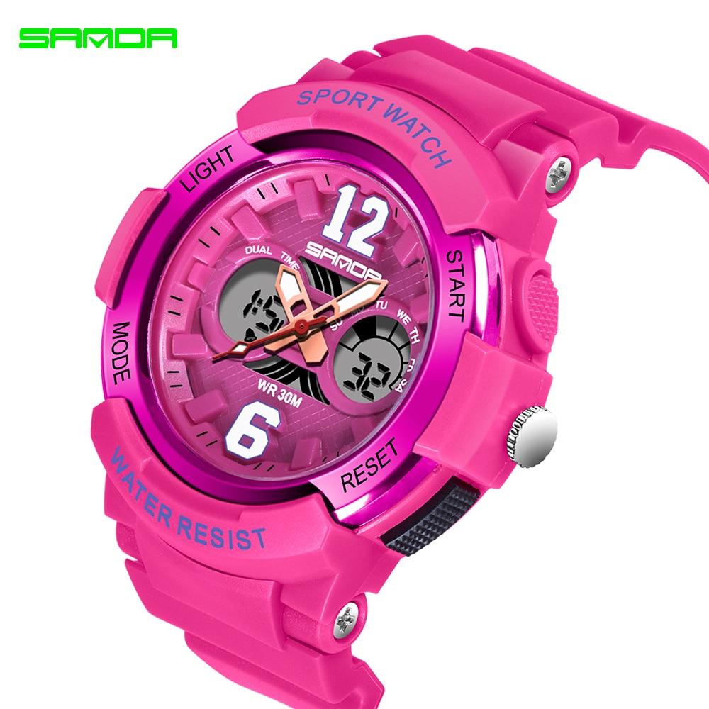 2020 SANDA marque électronique Sport Montre femmes montres à Quartz décontracté étanche Montre-bracelet numérique LED Femme horloge Montre Femme 5