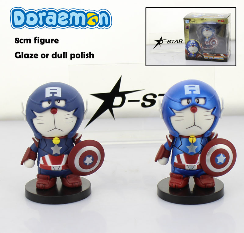 Free Shipping Cute 3 Anime Doraemon Cosplay Captain America Glaze or Dull 8cm Boxed PVC Action Figure Collection Model Toy Gift
