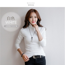 new strong long-sleeved roll-neck cotton match T-shirt for women
