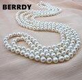 VERDADERA PERLA 9mm Tamaño 100% Genuino de Agua Dulce Verdadera Perla Cultivada largo Collar de Perlas de la Moda para Mujer Agradable Femenina Regalo Caliente venta