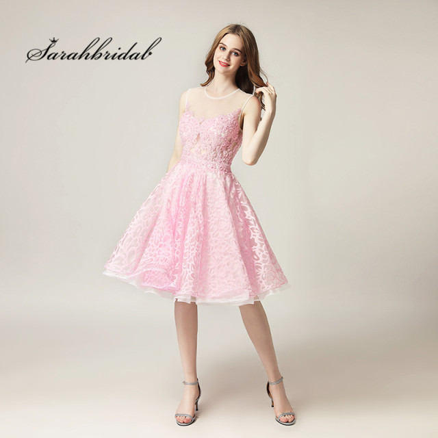 Youthful Sweetly Short Cocktail Dresses Tulle Knee-length O-Neck Back Zip Hollow Party Gowns Beads Sleeveless In Stock Hot CC313