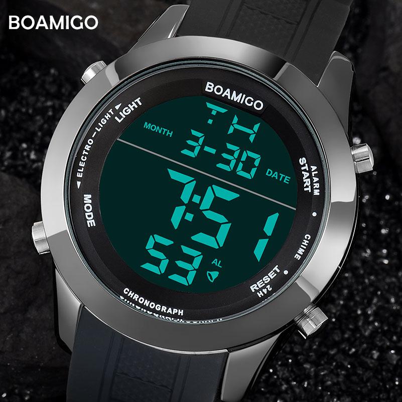 Männer uhren mode sport digitale uhren schwarz wasserdicht gummi armbanduhren große zifferblatt LED-shock geschenk uhr 2018 reloj hombre