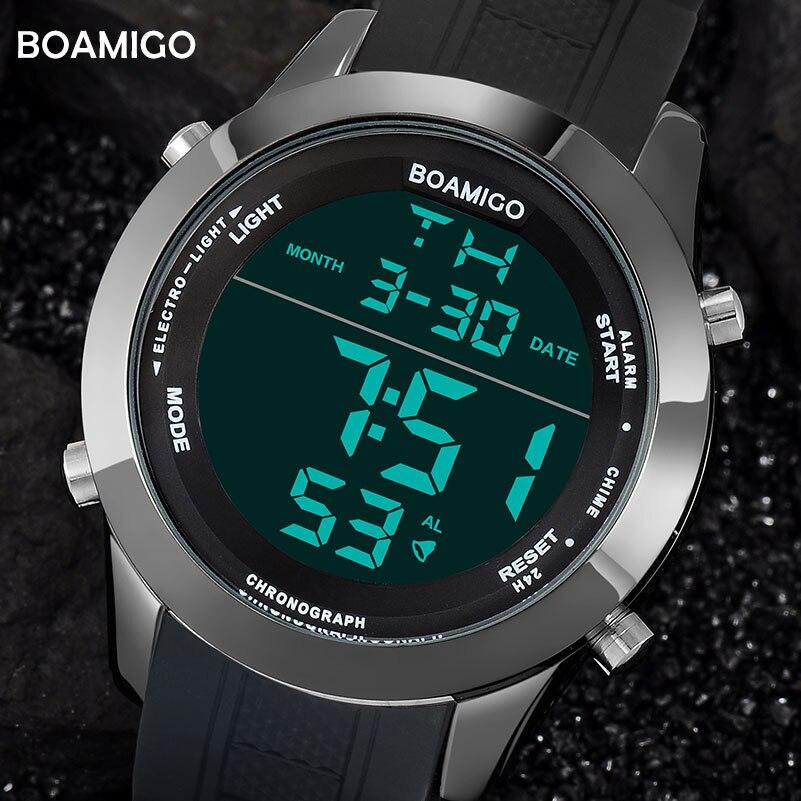 Orologi da uomo di sport di modo orologi digitali nero impermeabile di gomma orologi da polso quadrante grande LED shock regalo orologio 2018 reloj hombre