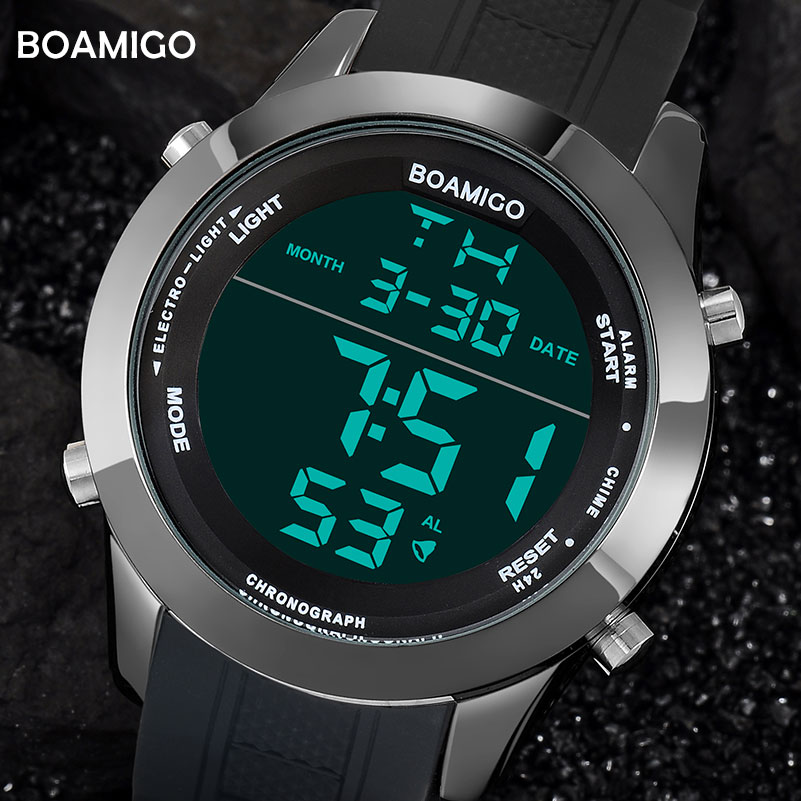 men watches fashion sport digital watches black waterproof rubber wristwatches big dial LED display gift clock 2017 reloj hombre