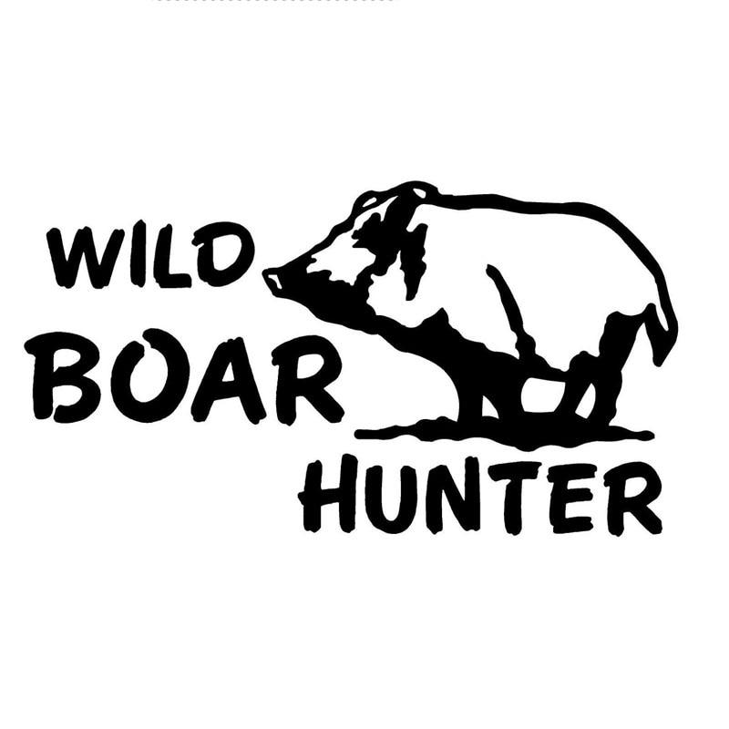 15.4CM*8.3CM Wild Boar Hog Pig Piglet Hunt Hunting Country Car Stickers Motorcycles Accessories Black Sliver C8-0574
